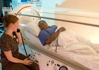 Patients relax in 100% pressurized oxygen