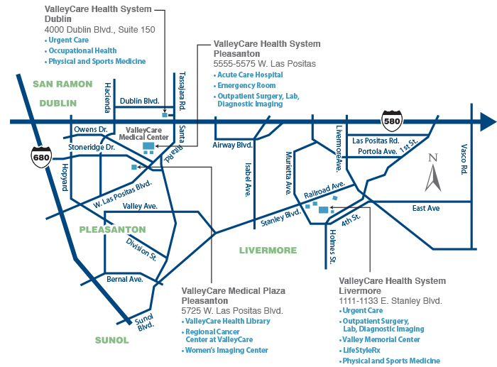 Directions to ValleyCare Facilities